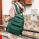 Молодежный зелёный  рюкзак однотонный с водонепроницаемой пропиткой  LOOZYKIT (AV235), фото 5