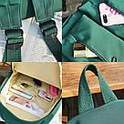 Молодежный зелёный  рюкзак однотонный с водонепроницаемой пропиткой  LOOZYKIT (AV235), фото 6