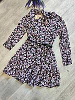 Платье шифоновое для девушекс поясомразмер44-48,черного цвета