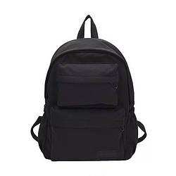 Молодежный черный рюкзак однотонный с карманами  LOOZYKIT (AV235)