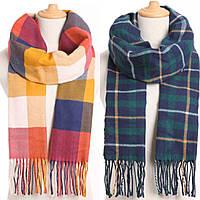 Зимний шарф кашемировый мягкий в клетку: мужской/женский