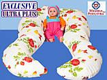 """Подушка для вагітних Exclusive ULTRA PLUS, в комплекті наволочка 2-стор.-Поплін """"Весна""""+жовтий.точки, фото 9"""