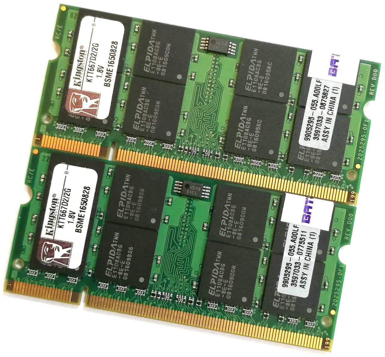 Пара оперативной памяти для ноутбука Kingston SODIMM DDR2 4Gb (2Gb+2Gb) 667MHz 5300s CL5 (KTT667D2/2G) Б/У