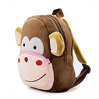 """Детский рюкзак """"Обезьянка"""" для любимых малышей мягкий текстиль велюр дошкольный коричневый для садика унисекс"""