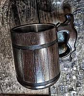 Пивной бокал тёмный из дерева 0,9л, фото 1