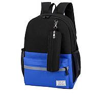 Городской рюкзак синий для спортзала прогулок непромокаемый унисекс повседневный