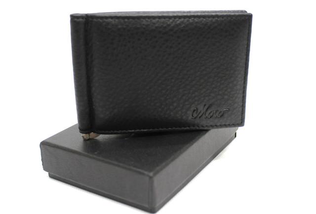 Кожаный мужской кошелек с зажимом