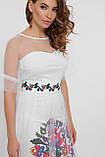 Платье с цветочным узором белое  Уна, фото 3