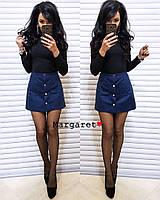 Женская замшевая мини юбка с кнопками (размер С и М, размер: синий, хаки, бордо), фото 1