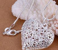 Цепочка с подвеской Сердце покрытие серебро код 776