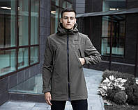"Куртка мужская весенняя Pobedov с капюшоном Parka ""MMS"" хаки"