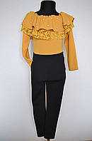 Нарядный детский цельно-шитый костюм для девочек 4-14 лет горчица, фото 1