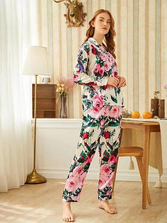 Піжама жіноча атласна на гудзиках Квіти. Комплект шовковий для дому, сну з довгим рукавом Троянди XL