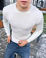Свитер мужской свитшот весенний осенний стильный качественный белый без логотипа, фото 1