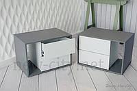 Тумба прикроватная Cube (Куб) 60см Серый/Белый