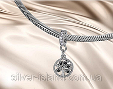 Шарм в сріблі з чорними цирконами Дерево життя