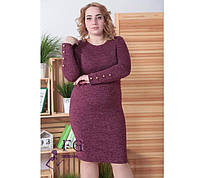 Женское платье большого размера из мягкой ангоры с длинным рукавом