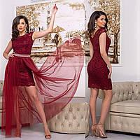 """Бордовое вечернее гипюровое платье-трансформер """"Империя лайт"""", фото 1"""