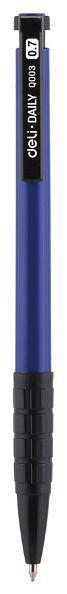 Ручка шариковая Deli EQ00330 синяя Daily 0,7 автомат резиновый грип, синий корпус