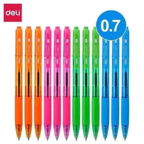 Ручка шариковая Deli EQ02930 синяя Xtream 0,7 автомат неоновый корпус