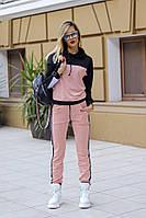 Стильный весенний женский трикотажный спортивный костюм штаны и кофта с капюшоном 42 44 46 48-50 52-54