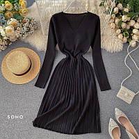 Женское вязаное платье плиссе, 42-46, бордо, черный, тёмный беж