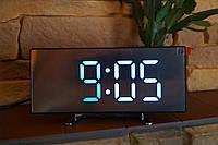 Электронные настольные зеркальные LED часы DT-6507 белая подсветка