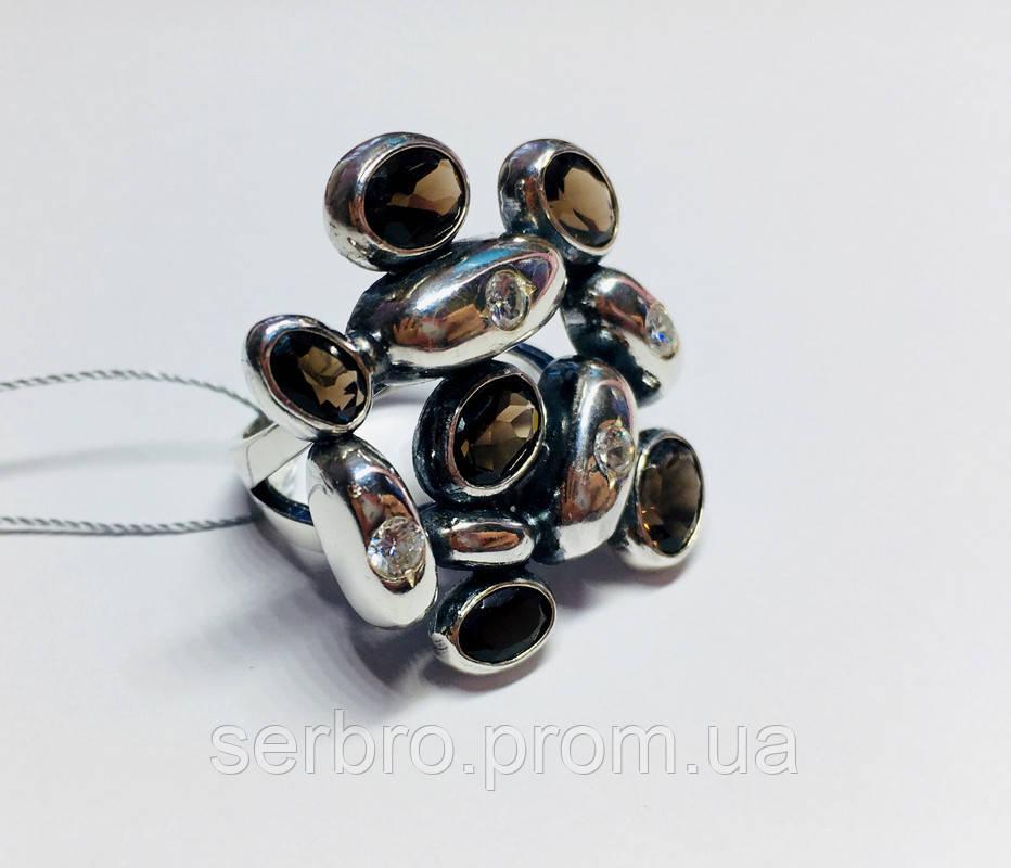 Масивне кільце в сріблі з раухтопазами Амидея