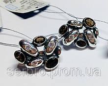 Крупные серьги в серебре с раухтопазами Амидея