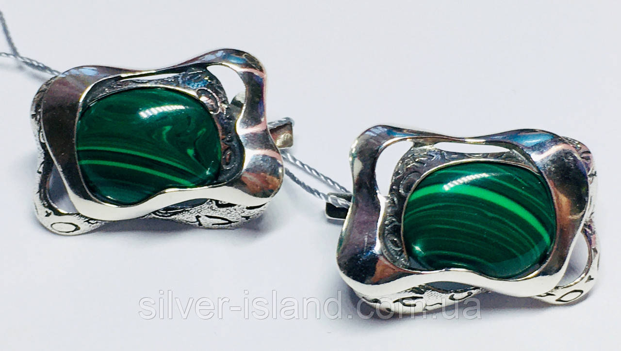 Сережки у сріблі з овальним малахітом Гетера