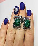 Сережки у сріблі з овальним малахітом Гетера, фото 4