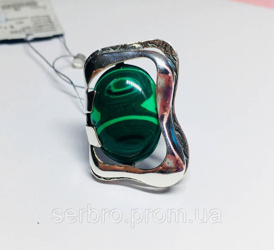 Перстень зі срібла з овальним малахітом Гетера