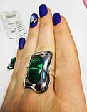 Перстень зі срібла з овальним малахітом Гетера, фото 4