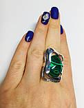 Перстень зі срібла з овальним малахітом Гетера, фото 5