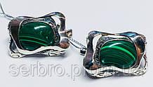 Серебряные серьги с овальным малахитом Гетера