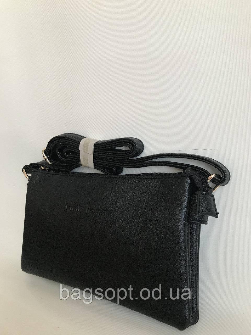 Женская мини сумка клатч Pretty Woman черного цвета с плечевым ремешком Одесса 7 км