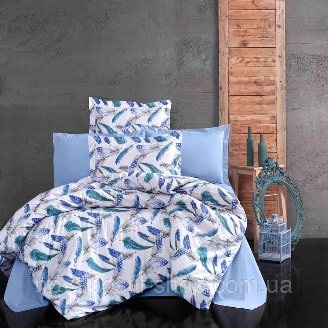 Перья голубые, постельное белье из ранфорса премиум (100% хлопок)
