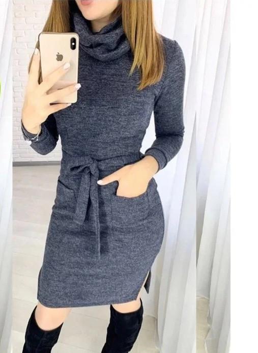Платье миди с карманами