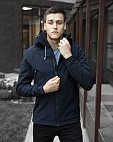 Куртка мужская весенняя с капюшоном Pobedov Soft Shell темно-синяя