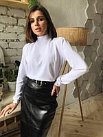 Прямая закрытая женская блуза с длинным рукавом и бантом сзади на воротнике 7313324, фото 1