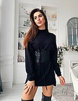 Черное ангоровое короткое платье с длинным рукавом прямого кроя 7303900, фото 1