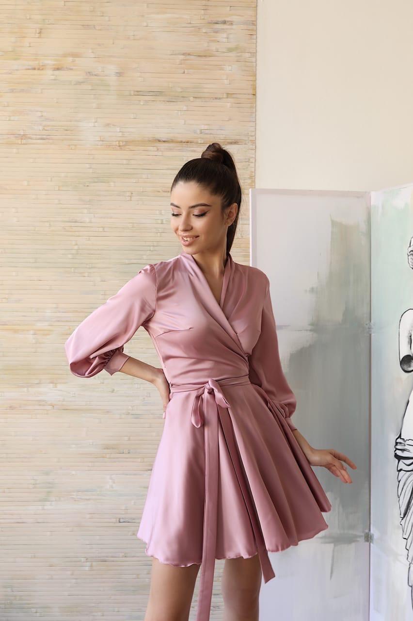 Шелковое платье короткое с верхом на запах и расклешенной юбкой 1403909