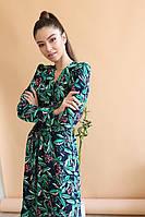 Легкое платье - рубашка длиной ниже колена с оборкой и длинным рукавом 1403910, фото 1