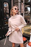 Прямое платье из трикотажа рубчик с поясом и длинным рукавом 1403912, фото 1