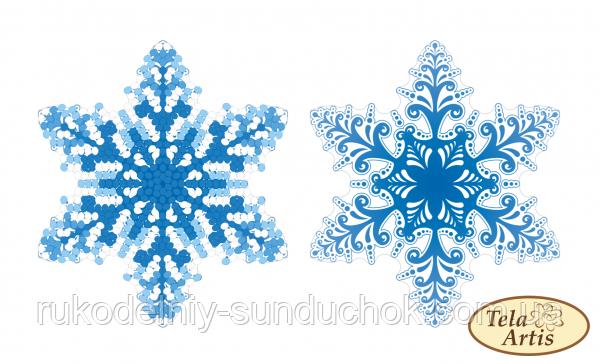Схема для вишивки бісером нанесена на щільний бархатистий велюр Tela Artis Сніжинка ВЛ-001