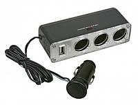 Разветвитель прикуривателя на 3 гнезда с USB, фото 1