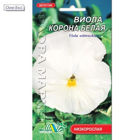 Виола Корона белая, двулетнее растение, семена цветы 0.05 г