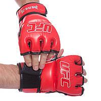 Перчатки для смешанных единоборств MMA UFC, PU, р-р 2XS-XL, красный (BO-0397-(rd))