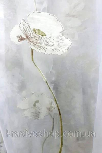 Тюль органза с рисунком цветы Макила