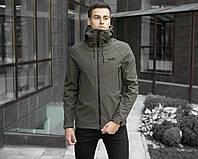 Куртка мужская весенняя с капюшоном Pobedov Soft Shell хаки